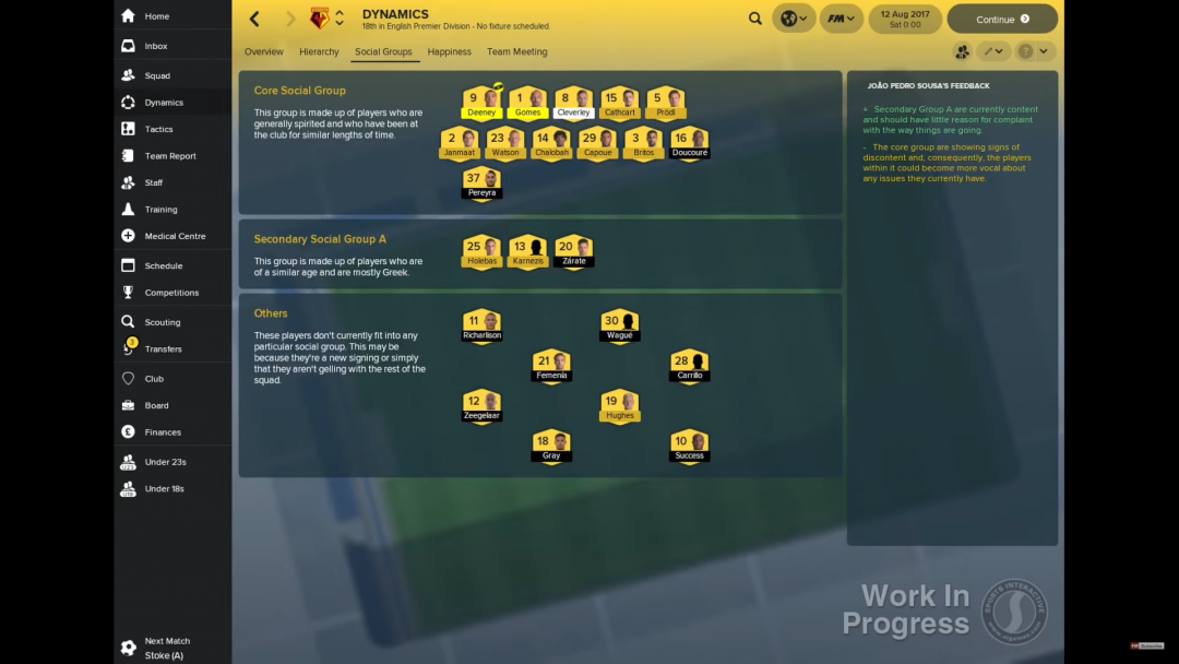 FM18 Dynamics: Social Groups