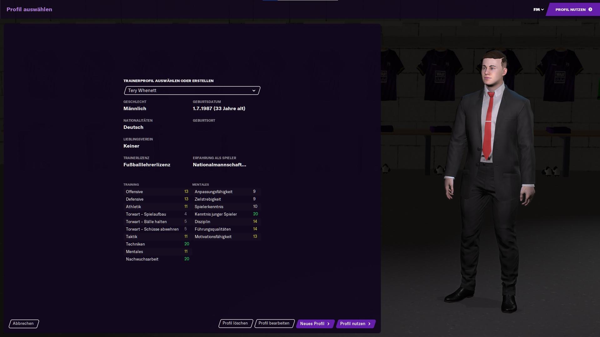 FM21 Managerprofil