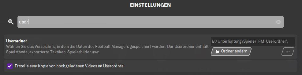 FM Userordner ändern