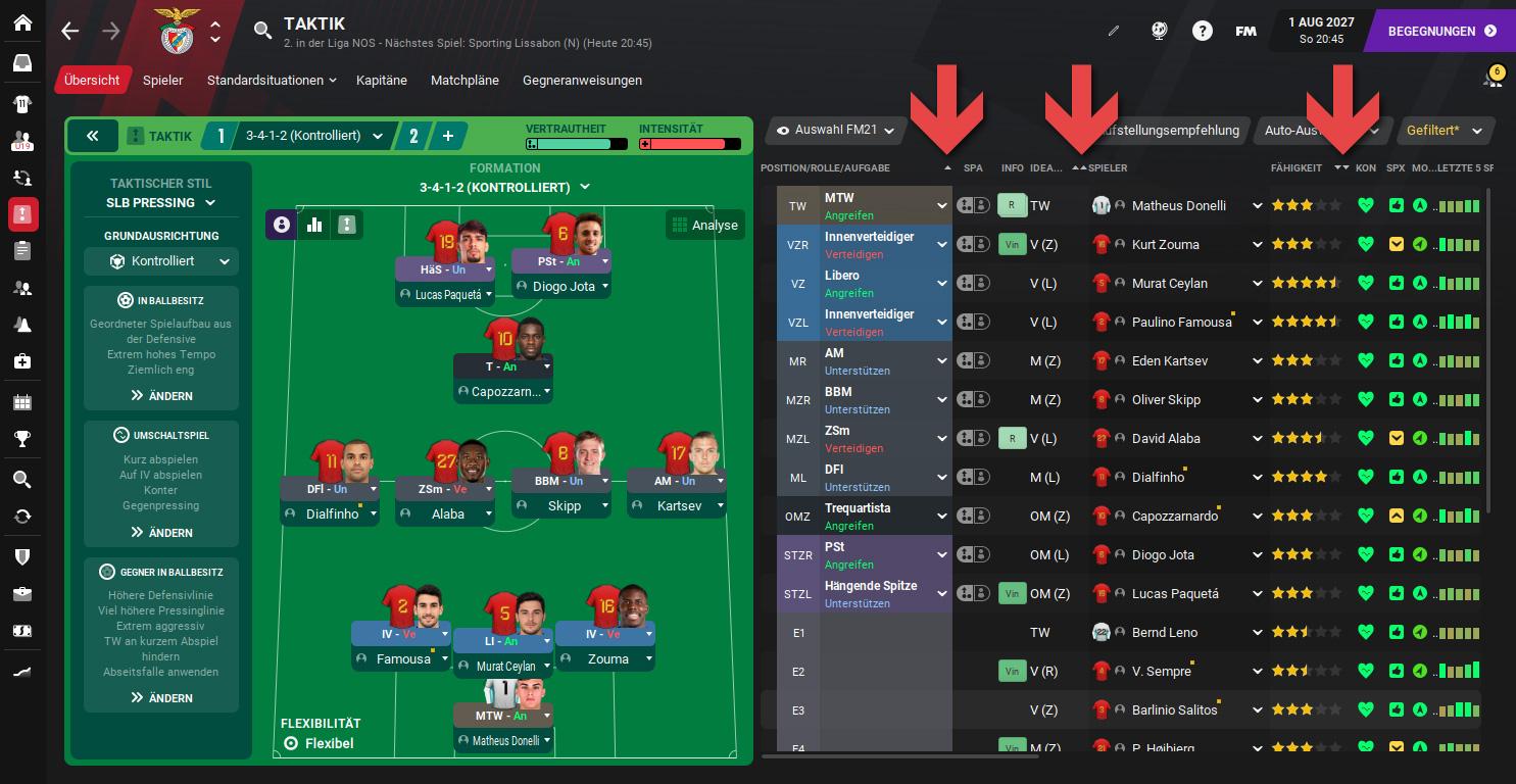 Football Manager Sortierung