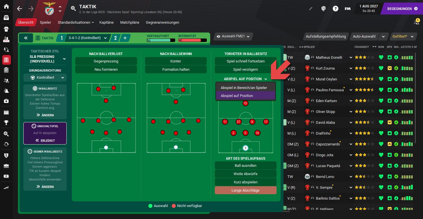 Football Manager Aufbauspiel auf Position